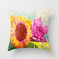 Throw Pillow featuring Girlfriends Of Summer by Die Farbenfluesterin