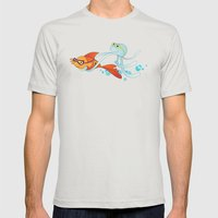 Goldfish & Octopus Mens Fitted Tee Silver SMALL