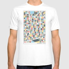 Salamanca Madrid Map SMALL Mens Fitted Tee White