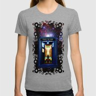 Tardis Doctor Who Bigger… Womens Fitted Tee Tri-Grey SMALL