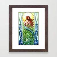 Kelp Forest Mermaid Framed Art Print