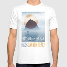 Haystack Rock of Cannon Beach, Oregon White SMALL Mens Fitted Tee