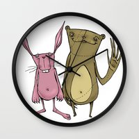 Bunny and Bear Friends  Wall Clock