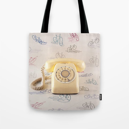 The yellow retro telephone  Tote Bag
