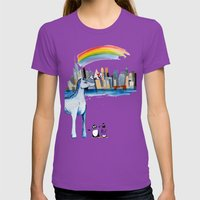 Unicorn Penguin Love NYC Womens Fitted Tee Ultraviolet SMALL
