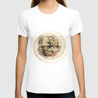 CUTE CLOUDED LEOPARD CUB Womens Fitted Tee White SMALL