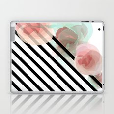 Watercolor Floral with Stripes Laptop & iPad Skin