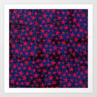 Red stars on grunge textured blue background Art Print