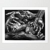 Getting Handsy (smothering, groping, hands) Art Print