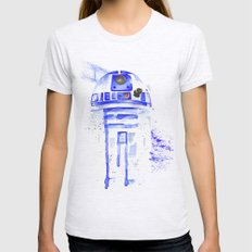 R2-D2 R2D2 droid watercolor Wars Scifi Star FAnart Womens Fitted Tee Ash Grey SMALL