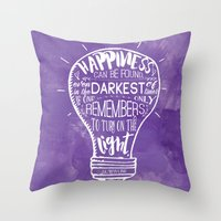 Throw Pillows featuring Turn on the Light by Evie Seo