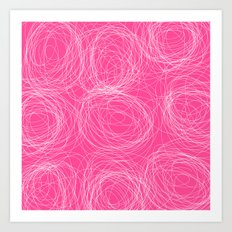 Abstract white circles - abstract patterns - on pink Art Print