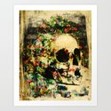 floral skully 2 Art Print