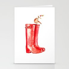 Red Christmas Boot Stationery Cards