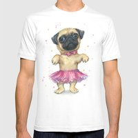 Cute Pug Puppy Dog Water… Mens Fitted Tee White SMALL