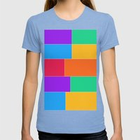 Patched Together Womens Fitted Tee Tri-Blue SMALL