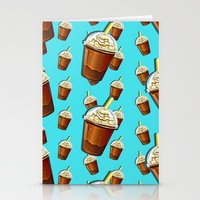 Iced Coffee To Go Pattern Stationery Cards