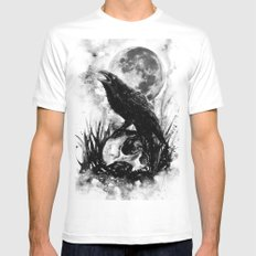 Crow and Skull White SMALL Mens Fitted Tee