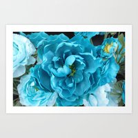 Aqua Blue Floral Abstrac… Art Print