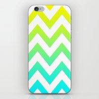 YELLOW & TEAL CHEVRON FADE iPhone & iPod Skin