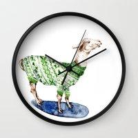 Llama In A Green Deer Sw… Wall Clock