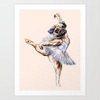 Pug Ballerina In Dog Bal… Art Print