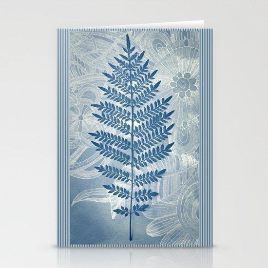 Jacaranda Leaf in Blue, Cream, Grey Stationery Card