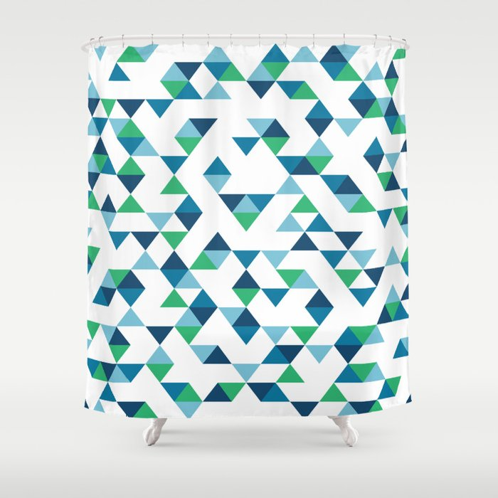 Triangles Blue And Green Shower Curtain By Project M Society6