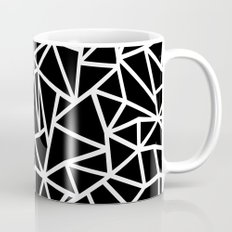 Abstract Outline Thick White on Black Mug