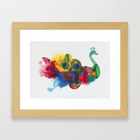 Colorful Peacocks Framed Art Print