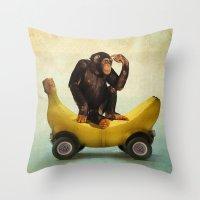 Chimp My Ride Throw Pillow