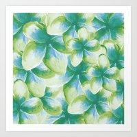 Blue Plumeria Floral Wat… Art Print
