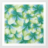 Blue Plumeria Floral Watercolor Art Print