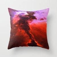 Red Nebula Throw Pillow