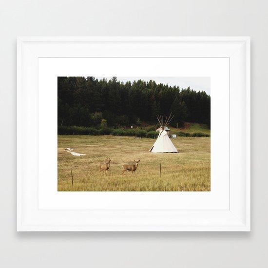 Salida Teepee Deer Framed Art Print
