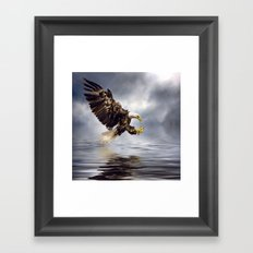 Young Bald Eagle Swooping Framed Art Print