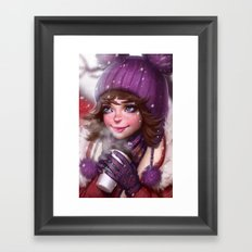 Snow & Coffee Framed Art Print