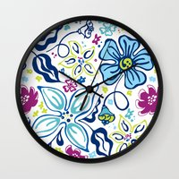 Fling Flowers Wall Clock
