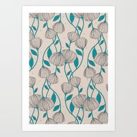 Blue Stem Flowers Art Print
