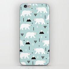 Polar Bears geometric winter wonderland - illustration arctic animal pattern print iPhone & iPod Skin