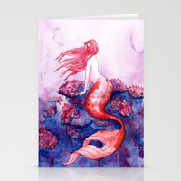 Red Coral Mermaid Stationery Cards