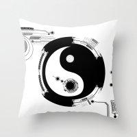 Tech Yin Yang Throw Pillow