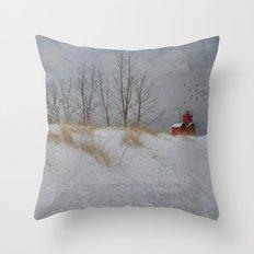 Winter Lighthouse Throw Pillow