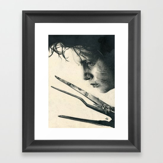Edward Scissorhands Johnny Depp Traditional Portrait Print Framed Art Print By