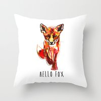 Cute Little Red Fox Wate… Throw Pillow