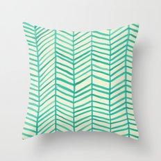 Mint Herringbone Throw Pillow