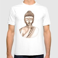 Buddha Shh.. Do Not Dist… Mens Fitted Tee White SMALL
