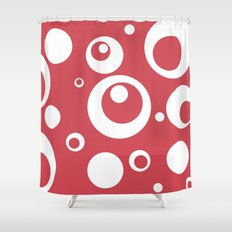 Circles Dots Bubbles :: Berry Blush Shower Curtain