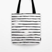 Thin Brush Stripe Black … Tote Bag