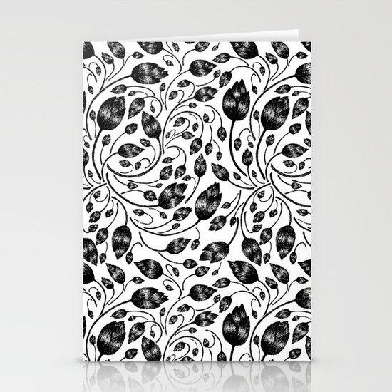 b&w flora pattern Stationery Card